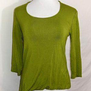 Grace Blouse Size Large Green 3/4 Sleeve
